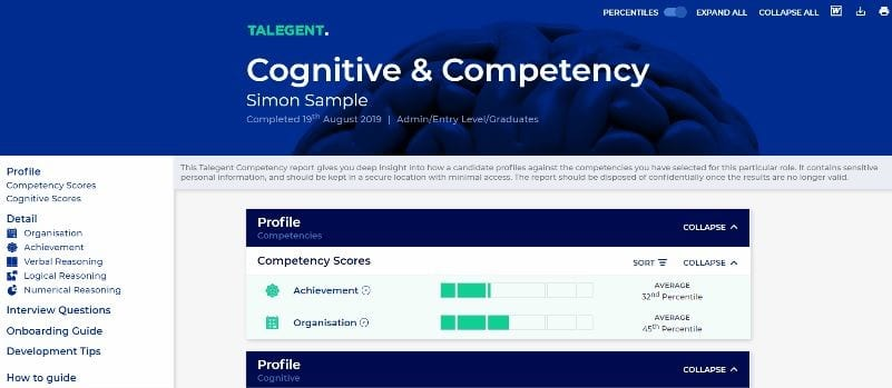 Competency & Cognitive Sample Report Screenshot